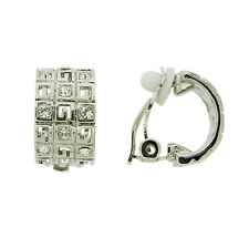 BRAND NEW SILVER RHODIUM PLATED CLEAR CUBIC ZIRCONIA CLIP-ON EARRINGS