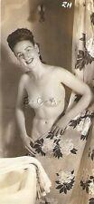 Org Vintage 1940s-50s Nude Sepia RP- Brunette- Bathroom- Bathtub- Shower Curtain