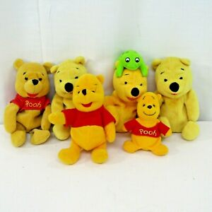 "Lot 6 Winnie The Pooh Bear Plush Beanies Disney Red Shirt Stuffed Toys 6"" inches"