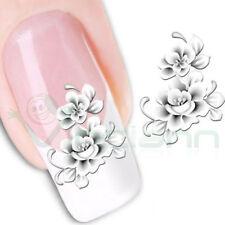 2X Adesivo sticker White Flower nail art decorazioni unghie trasferimento acqua