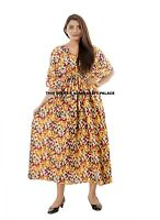 Women V-neck Short Sleeve Loose Long Maxi Dress Kaftan Robe Plus Size New Dress