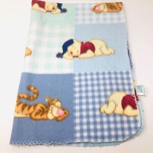 Disney Baby Blanket Winnie Pooh Tigger Sleeping Blue Patchwork Fleece Squares