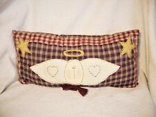 "Country Prim Angel Applique' Rustic Hand Sewn Blue & Red Plaid 18"" Pillow NEW"