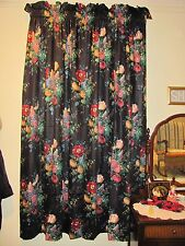 2 PAIR CUSTOM MADE LINED PANEL MULTI COLOR FLORAL PRINT CURTAINS / DRAPES