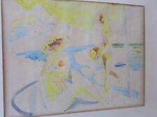 Ludwig KLIMEK 1912-1992-Pologne-aquarelle-baigneuses-Plage-painting