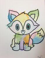 Maria Scalf Fox 2 Watercolor 9x12 ORIGINAL PAINTING Abstract Woodland Rainbow
