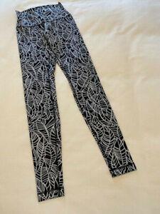 Lululemon Black and White Print High Rise Leggings Women's Size 4 Great Shape