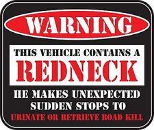 WARNING REDNECK Motorcycle Helmet Vehicle Car Truck Window Decal Sticker