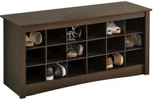 Prepac Shoe Storage Cubbie Entryway Bench Espresso Organizer Space Shelves Rack