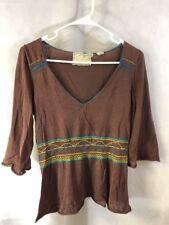 Anthropologie Sparrow Brown V Neck sweater 3/4 Sleeve Size Medium