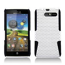 Motorola Droid RAZR M MESH Hybrid Silicone Rubber Skin Case Phone Cover White