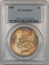 1888 Morgan Silver Dollar $1 Coin PCGS MS-63 Toned (BR-21 D)