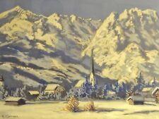 A. KOERNER - ALPEN Aquarell: GARMISCH IM WINTER Alpspitze Zugspitze Waxenstein