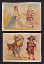 c.1890 actor children play Don Cesar de Bazan & Les Huguenots 2 victorian cards