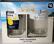 Corona Extra Pint Glasses Set of 2 Beer Glasses 16 Ounce Pint Size.