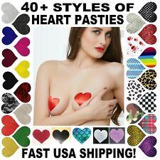 USA CHOICE LOWE$T~❤💗Heart Pasties💜❤ Breast Nipple Covers Satin Club Bra X Wear