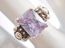 Vintage Sterling Silver Emerald Cut Purple Cubic Zirconia Ring Sz 5   #1495