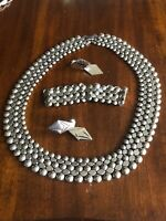 Retro Modernist Bib Choker Necklace With Matching Bracelet And Earrings