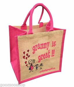 """""""Granny is Great"""" Jute Shopper from These Bags Are Great - Good size bag"""