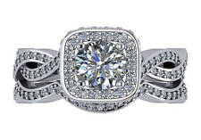 2.05 ct F VS2 round ideal cut diamond halo engagement wedding ring set 18k gold