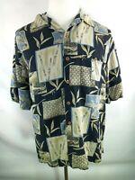 Joseph & Feiss XL Hawaiian 100% Silk Shirt Men's SS Button Front Bamboo Design