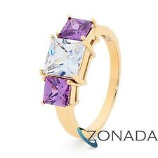 white Princess Cut Gemstone 9k 9ct Solid Yellow Gold Cocktail Rings 25486/AM