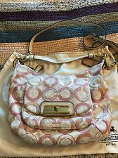 Coach 16791 Kristin Op Art Shoulder Bag Pink Sequins Convertible Strap EUC