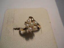 Estate Pearl Ring 14k Yellow Gold Pearl Cluster 14kt Not Scrap Jewelry 2.6 gr 22
