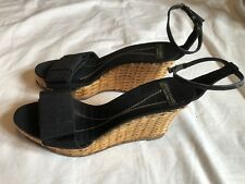36a0a4dbbdbc KATE SPADE Women s Black Nylon Leather Wicker Wedge Sandals Shoes Spain  Size 7