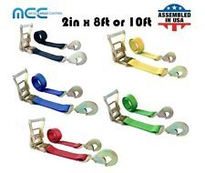 New Listing2 X 8 Or 10 Ratchet Strap With Snap Hook For Car Hauler Flatbed Trailer Wrecker