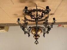 Details about Antique Vintage Brass Chandelier 5 Lt. Original Etched Glass Shades Crests