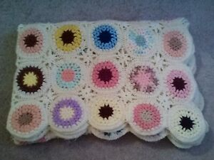VINTAGE HAND MADE CROCHETED COLORFUL FLOWERS AFGHAN BLANKET-57X74-GORGEOUS