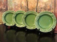 "4 Bordallo Pinheiro Green Rabbit Rim Soup Bowls Majolica Portugal 9.125"" MINT"