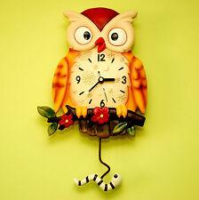 Reloj De Pared Owl-Hermoso Con Péndulo
