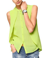 UK Size 6 - 18 Ladies Sleeveless Lime Green Blouse Top
