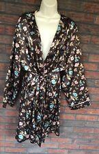Brown Floral Robe 3X Housecoat Satin Silky Feel 3/4 Sleeves Tie Waist Sleepwear