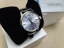 Seiko Prestage Automatic Ice Blue Cocktail Time Watch Leather SRPB43 New w/ tag