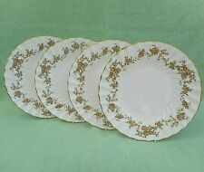 4 Crown Staffordshire Aristocrat dinner / cake plates - gold floral swags -10.5""