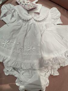 Newborn Baby Girls Dress & Hat White Pants Spanish Style 3-5 5-8lbs 0-3 3-6 Mths