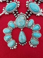 FULL SQUASH BLOSSOM TURQUOISE NECKLACE.  NATURAL STONE.    *NWT*