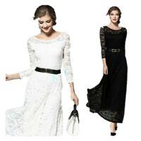 Women Swing Long Dress Lace Floral Party Wedding 3/4 Sleeve Lace Maxi Slim Dress
