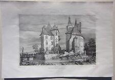 1838 CHATEAU AUTRY-ISSARDS litografia Durand Jaunez Allier Desrosiers Souvigny