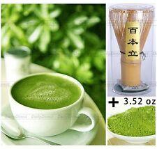 100% Pure Organic Natural Matcha Green Tea Powder 3.5oz 100g+Bamboo Chasen Whisk