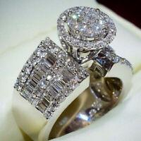Elegant Women 925 Silver Wedding Rings Round Cut White Sapphire Ring Size 6-10