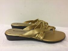 NATURALIZER women Gold Man made Open-Toed Thong Sandals Size 8M