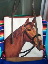 $650~HUGE Western Needlepoint Horse Braided Rein Leather Tote Bag~TOTEM SALVAGED