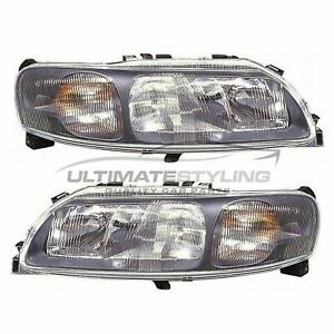 Volvo XC70 2002-2005 Black Front Headlight Headlamp Pair Left & Right