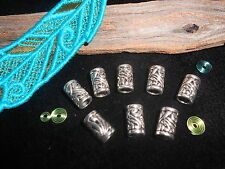 Silver Metal Dread Beads 8 x Carved Swirl Design Dreadlock Cuffs 5mm Hole UK