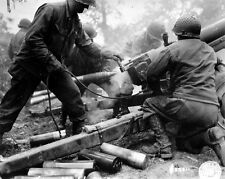 WWII B&W Photo US 105mm Howitzer in Action  WW2 / 1052