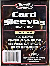1 pack of 100 Individual Thick Card Sleeves BCW No PVC Jersey Game Used Card